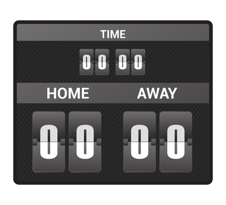 Scoreboard vector score board digital display football soccer sport team match competition on stadium illustration set of score-board championship information isolated on white background Illustration