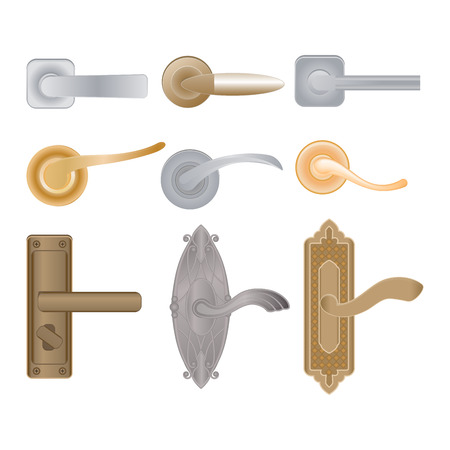 Door handle vector doorknob to lock doors at home and metal door-handle in house interior illustration set of entrance door-knob design isolated on white background