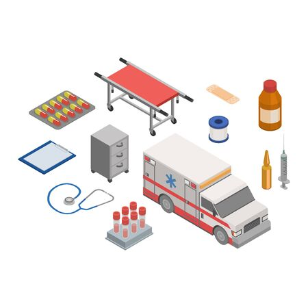Ambulance vector doctor character ambulance car and pharmacy medicine drugs pills illustration medicatio first-aid isometric set of medical treatment healthcare signs isolated on white background Ilustrace