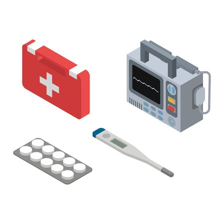 Ambulance vector doctor character ambulance car and pharmacy medicine drugs pills illustration medicatio first-aid isometric set of medical treatment healthcare signs isolated on white background Stock Vector - 125253773