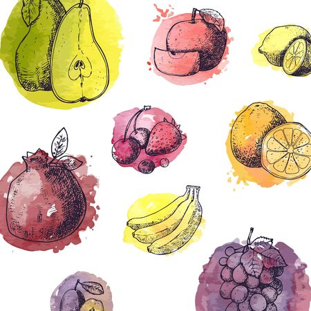 Seamless pattern with fruits in hand drawn style - vector illustration with watercolor stylized splashes. Summer background for menu and templates.