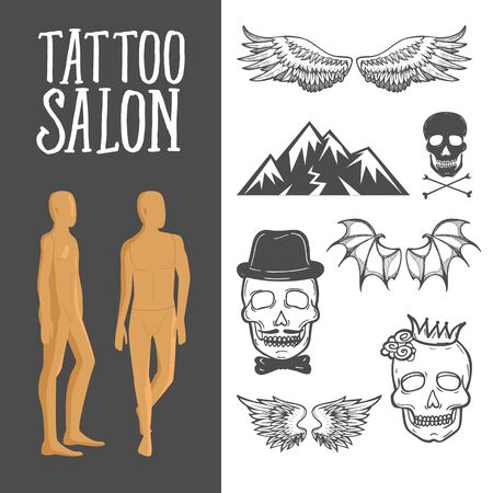 Vintage sketch tattoo studio elements set with crowned skull, scull with black hat and bow and bones, wings of bird and bat. Tattoo salon s design with two men s naked bodies elements. Ilustração