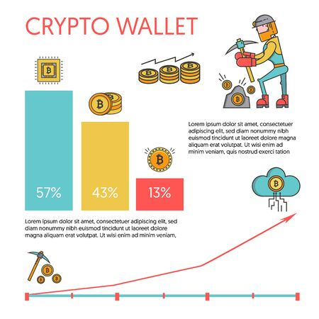Bitcoin and cryptocurrency concept infographic set with miner, coins, growing schedule and profits comparison. Man with pickaxe working in bitcoin mine vector illustration.