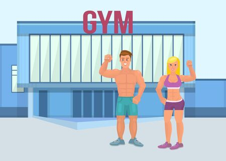 Muscular brutal man with athletic girl in a gym. A pair of man and woman proudly show their muscles in strong arms. Vector flat illustration of an athlete or bodybuilder.