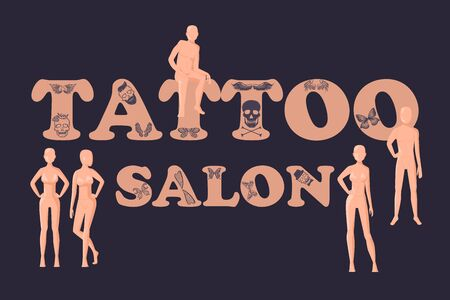 Vector vintage tattoo studio logo template on black background. Cool retro styled vector emblem. Tattoo studio sign with man and woman body manikins.