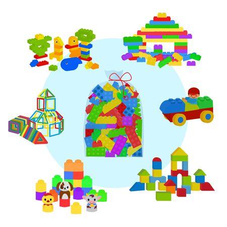 Torba pełna klocków Lego, drewnianych kostek i magnetycznych figurek dla dzieci w wieku przedszkolnym. Budowa wieży, zamku, domu i lokomotywy. Elementy ilustracji wektorowych na białym tle