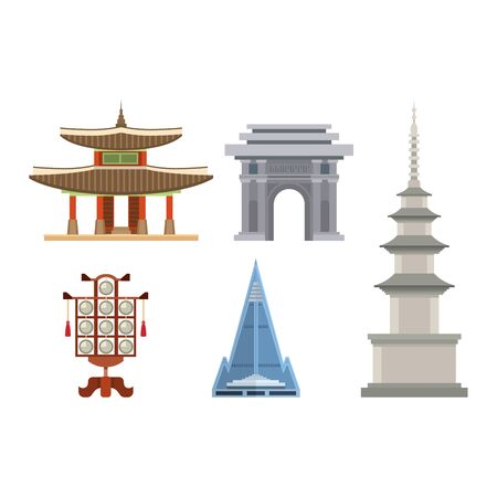 Korea vector korean culture traditional symbols buildings temple landmark traveling in South Korea illustration asian tourism set of oriental food in seoul city isolated on white background Illustration