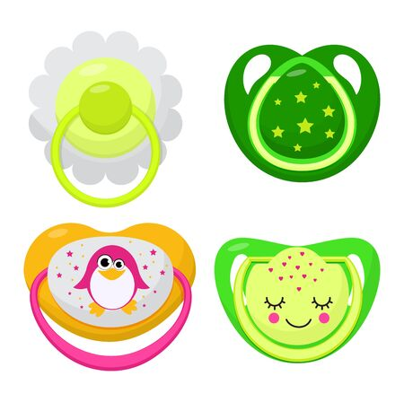 Pacifier vector baby soother child nipple and kids rubber nipple illustration set of cartoon comforter to pacify newborn children isolated on white background Ilustrace
