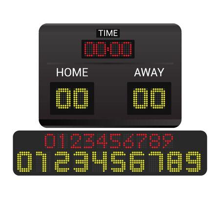 Anzeigetafel Vektor Anzeigetafel Digitalanzeige Fußball Fußball Sport Team Match Wettbewerb auf Stadion Illustration Satz von Anzeigetafel Meisterschaftsinformationen isoliert auf weißem Hintergrund