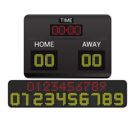 Scoreboard vector score board digital display football soccer sport team match competition on stadium illustration set of score-board championship information isolated on white background Иллюстрация