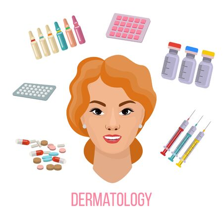 Vector Illustrated set with cosmetology micro needle mesotherapy and medical treatment for face skin. Infographics with icons of medical cosmetics of pills, syringes, bottles and woman face.
