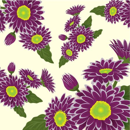 Abstract elegance pattern with floral background. Violet and purple chrysanthemum with yellow hearts. Vector illustration.