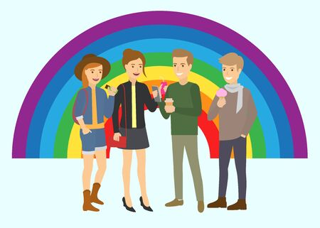 Vector illustration of happy male and female couples of different orientation with color rainbow background. Lesbian, gay, bisexual, transgender, and queer community s poster. Vector Illustration
