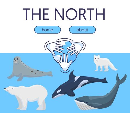 Arctic and Antarctica wild nature protection vector illustration for web sites and landing page. Pole bear, white fox, whale, dolphin and furseal on blue background and protect alaska .