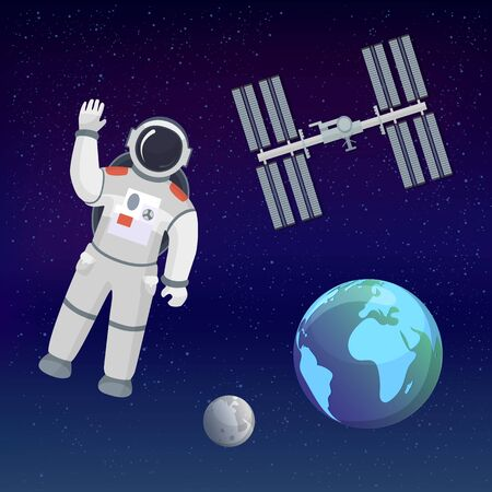 Astronaut in the cosmos space suit salutes on the cosmic background with Earth, Moon, stars and space station. Space tourism illustration set. Vector retro poster.