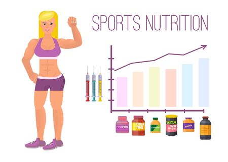 Sport nutrition infographic banner and elements with bodybuilding, fitness girl and graphic with protein and vitamin containers. Sport people and objects. Bodybuilder infographic template. Standard-Bild - 125253833