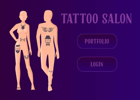 Tattoo master make ink picture in parlor landing page. Professional tattoos on mens and womans body mannequin. Tattoo studio website or web page. Flat cartoon vector illustration