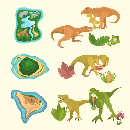Set of dinosaurs including T-rex, Brontosaurus, Triceratops, Velociraptor, Allosaurus, prehistorical islands and floras. Isolated vector illustration.