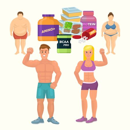 Flat style colorful cartoon illustration of fat man and woman before and bodybuilder man and athletic girl after with cans of whey and casein protein. Illustration