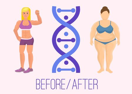 Illustration of a bodybuilder girl before and after and chromosome. From fat to slim and healthy body. Changing lifestyle and body shape in accordance with genotype.