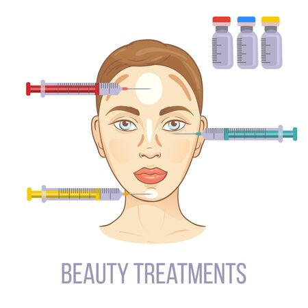 Female face with fillers injections. Infographics with medical cosmetic procedures for face skin. Beauty anti-aging concept. Beautiful woman having hyaluronic acid filler injection. Illustration