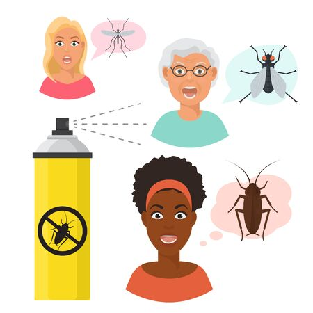 Madly frightened eldery and young woman faces and mosquito and fly. Black girl afraid of a cockroach. Aerosol spray. Arachnophobia panic attack. Colorful flat style cartoon vector illustration Stock Vector - 125254857
