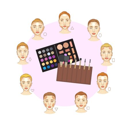 Flat vector set of different woman face types with make up brushes and color tones . Cosmetic makeup zones in accordance with female face shapes. Womans face proportions types.