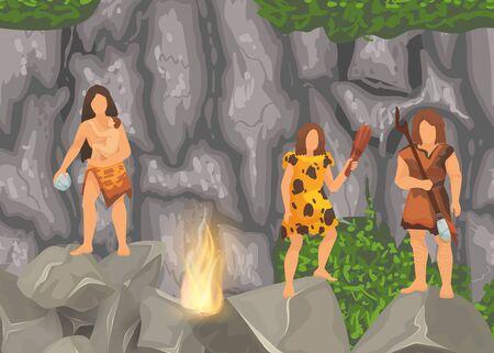 Tribus primitivas de la edad de piedra en cuevas de piedra cerca de la chimenea. Las antiguas mujeres bárbaras de las cavernas vestidas con pieles con bebés, herramientas y armas. Ilustración vectorial.