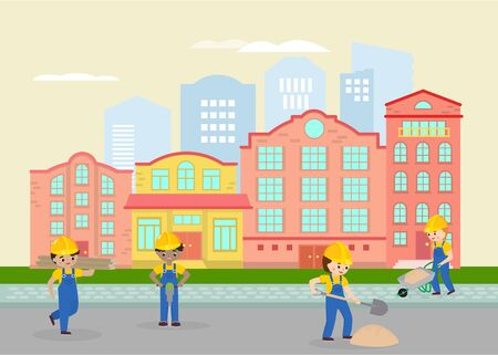 Road works in town, street vector illustration. Labours, workers in uniform and yellow helmets working with sand and shovels. Asphalt repairing flat drawing. City landscape cartoon design element. Illustration