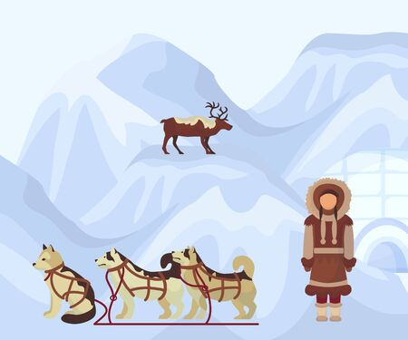 North people in traditional eskimos costume, arctic dogs and polar deer. Life in the far north. Polar nature with Eskimo dogs huskies in dogsled and sledge on snow mountains. Alaska vector poster. Çizim