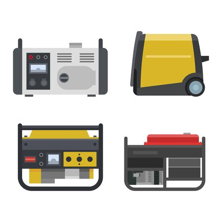 Generator vector power generating portable gasoline petrol fuel energy industrial electrical engine equipment illustration set of diesel industry isolated on white background