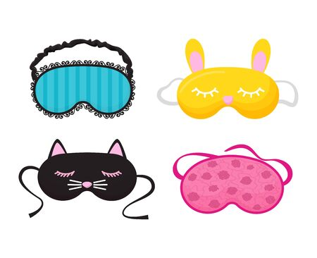 Eye mask vector sleeping night accessory relax resst in traveling illustration set of face sleepy protection cartoon asleep panda cat isolated on white background 向量圖像