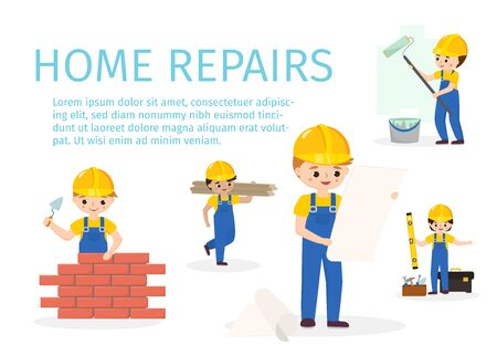 Vector illustration of builder, constructor, wall painter and repairman in yellow helmet. Red bricks wall repair step by step with cartoon character. Infographics for home repairment and services.