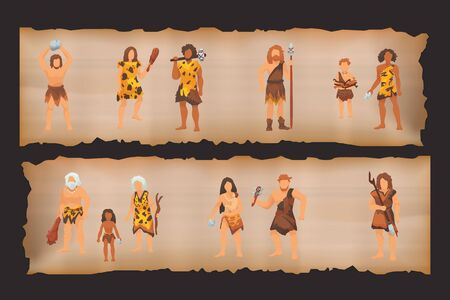 Stone age primitive people tribes in stone caves near fire place. Barbarian Caveman ancient women in fur wears with baby, tools and weapons. Vector illustration.