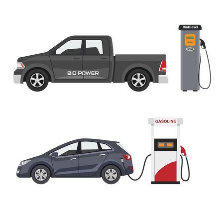 Kraftstoffalternatives Fahrzeugvektor-Team-Auto oder Gas-LKW und Solar-Van oder Benzin-Stromstation Illustrationssatz von Bio-Ethanol- und Wasserstoff-Elektroauto einzeln auf weißem Hintergrund