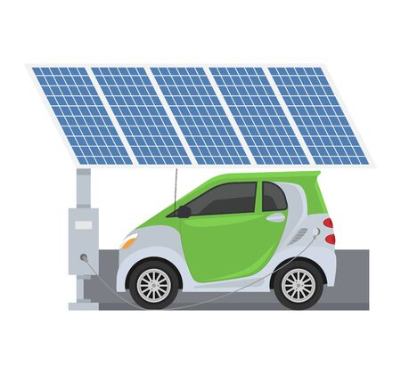 Fuel alternative vehicle vector team-car or gas-truck and solar-van or gasoline electricity solar station illustration set of bio-ethanol and hydrogen electric-car, isolated on white background Illustration