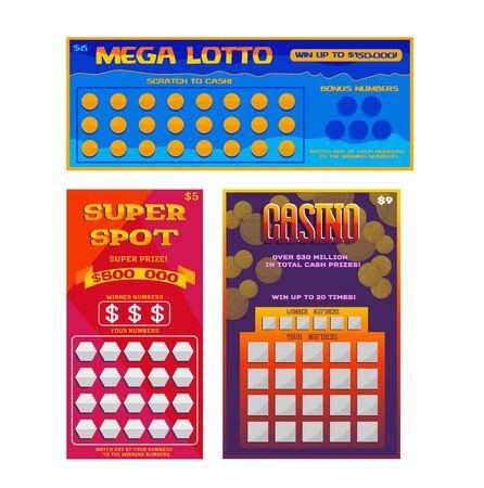 Lotterielos-Vektor-glückliche Bingo-Karte Gewinnchance Lotto-Spiel Jackpot-Ticketing Set Illustration Lotterie-Spielscheine isoliert auf weißem Hintergrund