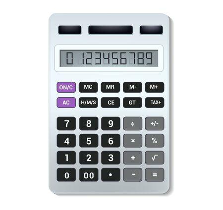Rechner-Vektor-Business-Buchhaltung-Rechentechnologie, die Finanzillustrationssatz von mathematischen Objekten mit Schaltflächen berechnet, berechnete Mathematikzahlen isoliert auf weißem Hintergrund