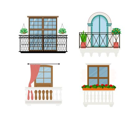Balcony vector vintage balconied railing windows facade wall of building illustration set of beautiful architecture decor window-pane facade isolated on white background Stockfoto - 126892690