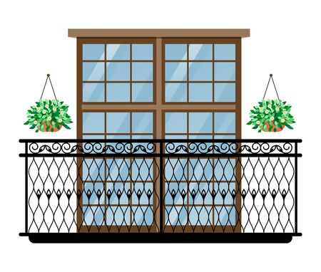 Balcony vector vintage balconied railing windows facade wall of building illustration set of beautiful architecture decor window-pane facade isolated on white background