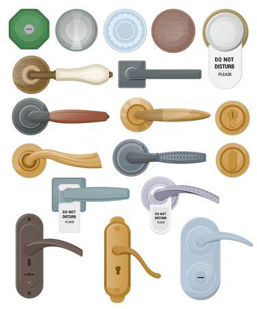 Deurklink vector deurknop om deuren thuis en metalen deurklink in huis interieur illustratie set van entree deurknop ontwerp geïsoleerd op witte achtergrond te vergrendelen Vector Illustratie