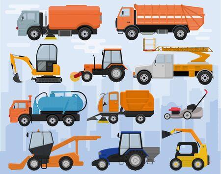 Straßenreinigungsmaschine Vektor Fahrzeug LKW Kehrmaschine Reiniger waschen Stadtstraßen Illustration Set Bagger Bulldozer Traktor LKW Transport auf Hintergrund isoliert