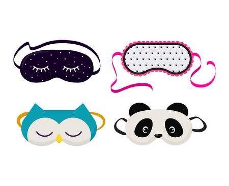 Eye mask vector sleeping night accessory relax resst in traveling illustration set of face sleepy protection cartoon asleep panda cat isolated on white background Illustration