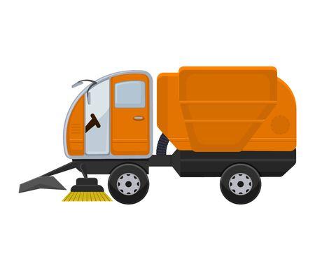 Straßenreinigungsmaschine Vektor Fahrzeug LKW Kehrmaschine Reiniger waschen Stadtstraßen Illustration, Fahrzeug Van Auto Bagger Bulldozer Traktor LKW Transport auf Hintergrund isoliert.