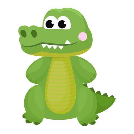 Crocodile vector cartoon crocodilian character of green alligator playing in kids playroom illustration animalistic childish funny predator isolated on white background