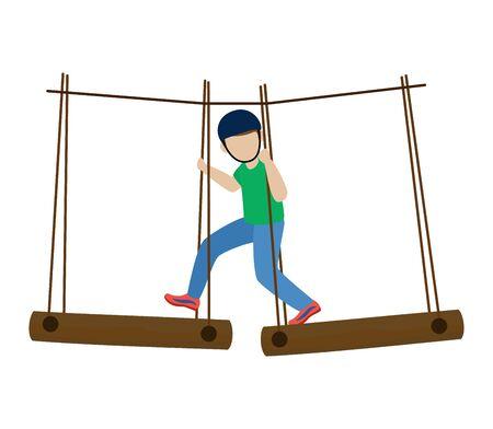 Los niños que escalan el carácter de los niños del escalador del vector sube la pared de la montaña de roca o conjunto de montañismo de ilustración de acantilado montañoso de niño en alpinista de deporte extremo aislado sobre fondo blanco