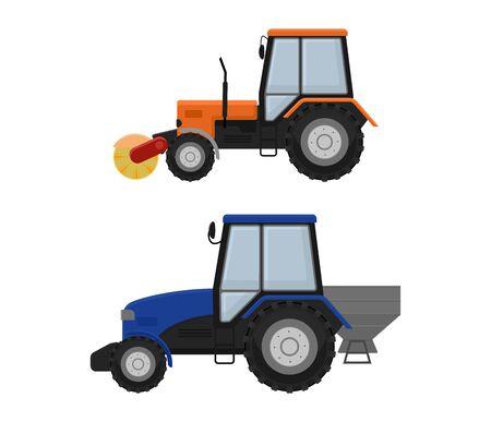 Macchina per la pulizia della strada escavatore trattore vettore veicolo camion spazzatrice detergente lavaggio strade della città illustrazione, veicolo van gatto escavatore bulldozer trattore camion trasporto isolato su priorità bassa. Vettoriali