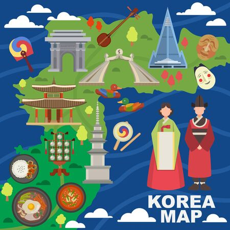 Korea map vector korean characters culture traditional symbols sightseeing landmark traveling in South Korea illustration asian tourism set of oriental food in seoul city isolated on white background Illustration