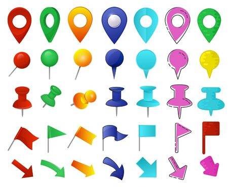 Map pointer vector location pin marker sign navigation icon colorful place point design illustration set of arrowheaded mark button flag arrow in gps direction isolated on white background 向量圖像