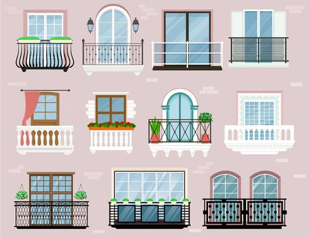 Balcony vector vintage balconied railing windows facade wall of building illustration set of beautiful architecture decor window-pane facade isolated on background Ilustração
